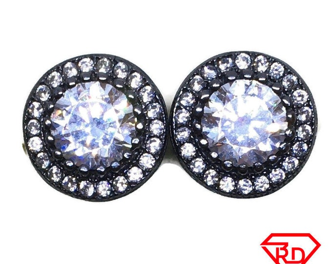 Medium Round white CZ stud Earrings Gothic Black gold layer
