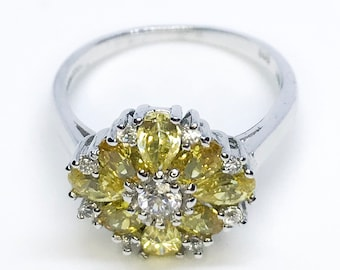 NEW 14K White Gold Layered on Sterling Silver Flower with Yellow Stones Ring