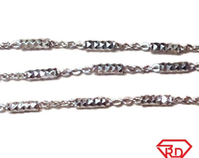 "14k White Gold / 925 Sterling Silver Bar & Cable Italian Anklet Bracelet - 1.3 mm 10 """