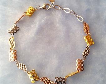 14k Rose, Yellow, White Gold Layer on 925 Sterling Silver Elegant Style Bracelet