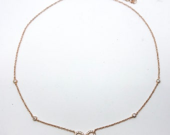 NEW 14K Rose Gold Layered on Sterling Silver Bow Design Necklace- 18""