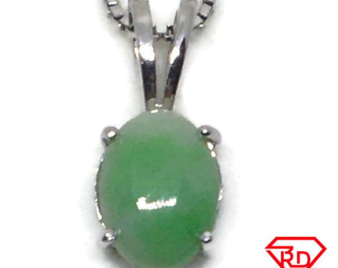 Tiny Oval Jade Pendant white gold on silver and free chain
