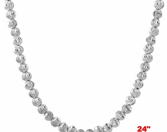 """18k w gold layered over .925 sterling silver moon cut Beaded chain 3 mm 24 """""""