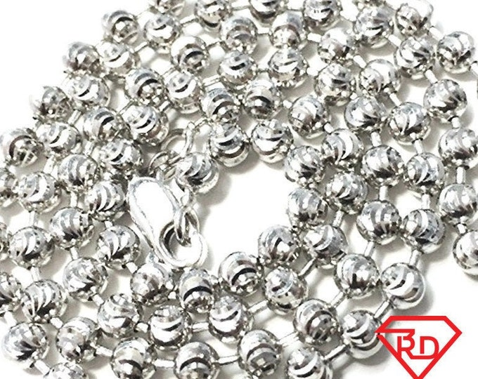 """18k white gold layered over .925 sterling silver moon cut chain 3 mm 20 """""""