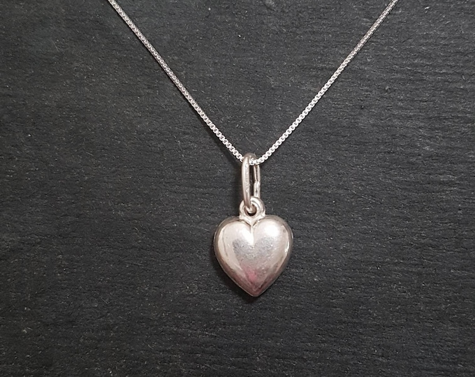 Anti tarnished 925 Small Sterling Silver Reflective Heart Pendant Charm with free chain