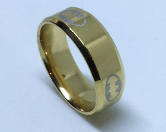 8 . 0 mm Brand New Yellow Gold Plated with Batman Symbol on Stainless Steel ring band