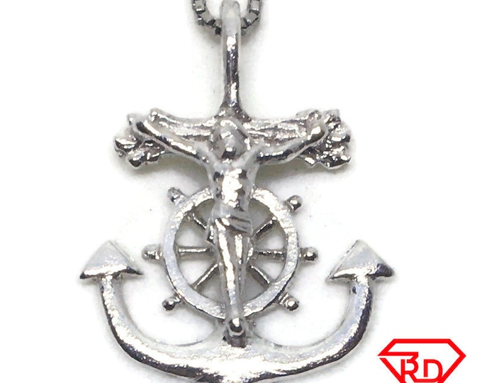 Crucifixion ship anchor charm pendant 925 Sterling Silver