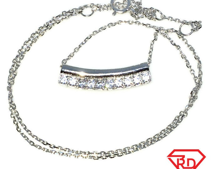 New White Gold Layered 925 Solid Sterling Silver 14 inch row of white round CZ Cable Chain Necklace with springring clasp