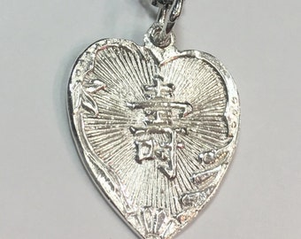 "New 925 Silver Chinese Character Writing ""Longevity"" &  plum Heart Charm Pendant Reversible Design"