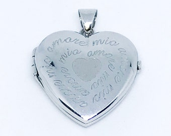 NEW 14K White Gold Layered on .925 Sterling Silver Heart Locket