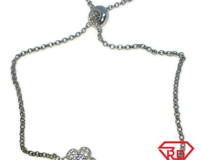 Brand New White Gold on 925 Solid Sterling Silver Flower white CZ Adjustable Pulley Rolo chain Bracelet