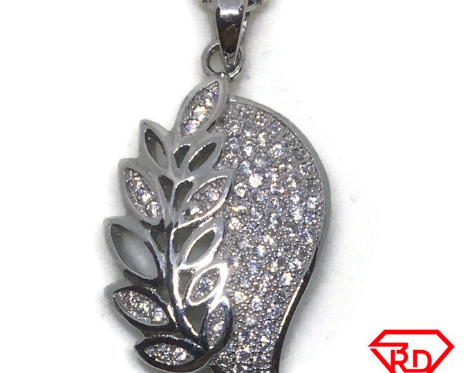 Artistic leaf CZ charm Pendant White Gold layer