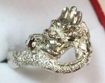 New custom handmade asian chinese diamond cut bling design dragon ring band s9.5