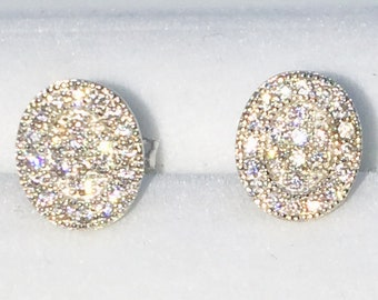 Brand New White Gold on 925 Solid Sterling Silver Indented Center Oval with white round CZ studs Earrings ( 7 . 1  mm )