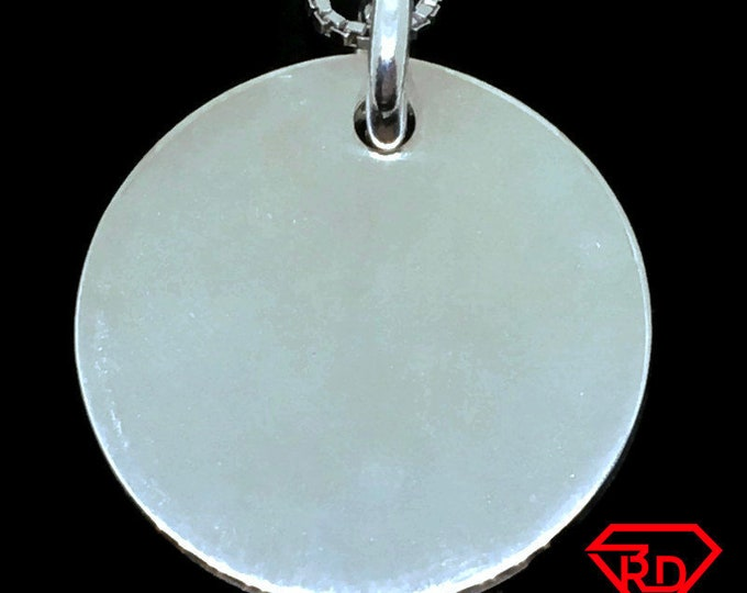 Round Disk charm pendant 925 Sterling Silver