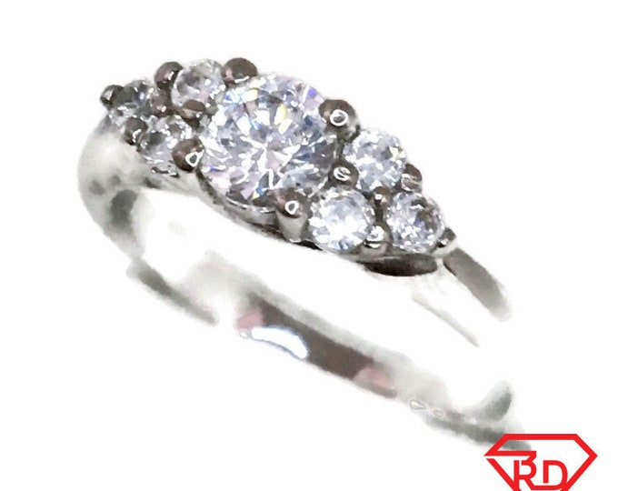 Brand New White Gold on 925 Sterling Silver Ring band Multiple prong basket with round white CZ ( size 8 )