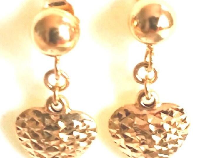 14k gold on 925 sterling silver half round dangling heart flat ball stud earring
