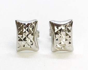 NEW 14K White Gold on Sterling Silver Curvy Rectangle Stud Earrings