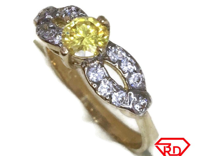 Infinity yellow white CZ ring band 14K Real Yellow gold S7