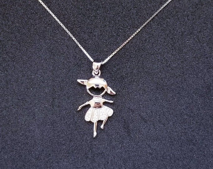 New 14k White Gold On 925 Sterling Silver Dancing Girl CZ Stones Pendant Free Chain
