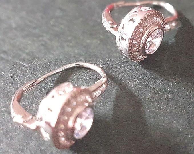 Brand new 14k white gold layer on 925 sterling silver heart swirl hook earrings