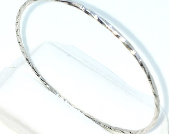 New White Gold Layered on 925 Solid Sterling Silver Bangle Bracelets plain full round twisted circle slip in