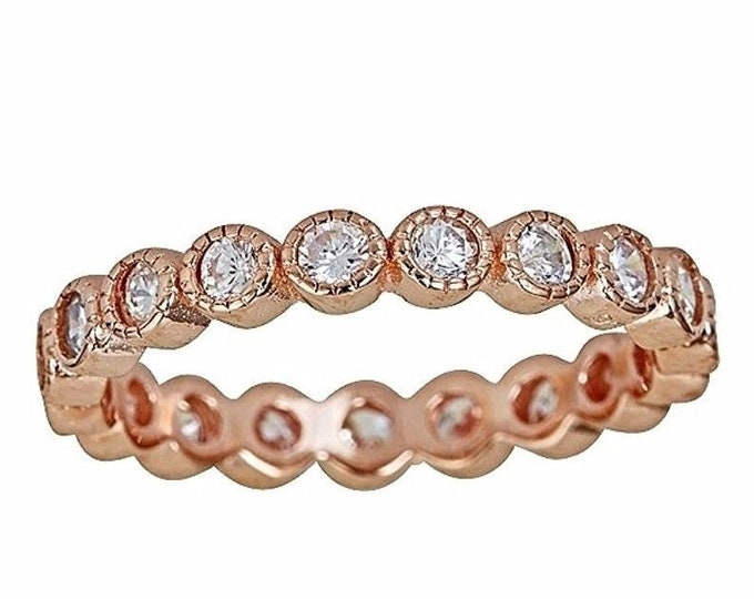 14k rose gold on silver antique style bezel set eternity stackable ring band s-9