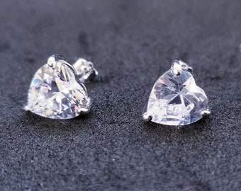 New 14K White Gold on 925 Sterling Silver Heart Stud Earrings