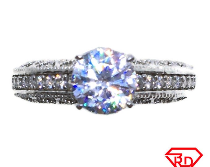 Round 4 prongs CZ Ring 14k white gold on Silver (size 7)