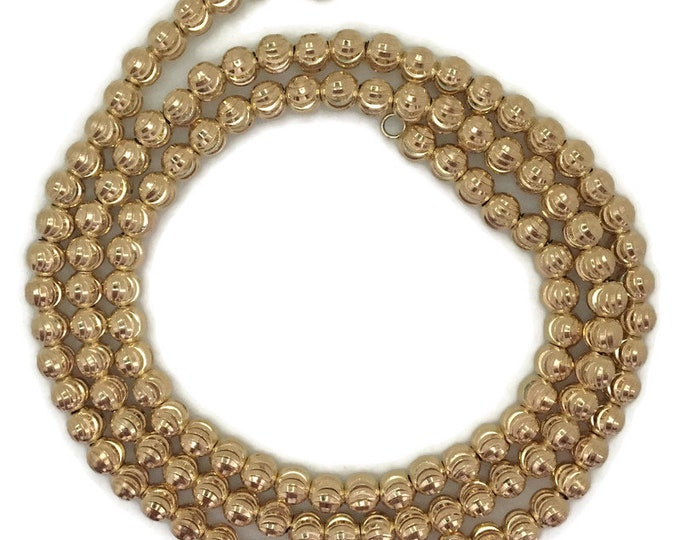 Yellow gold layer on silver necklace big Rigid diamond cut bead chain