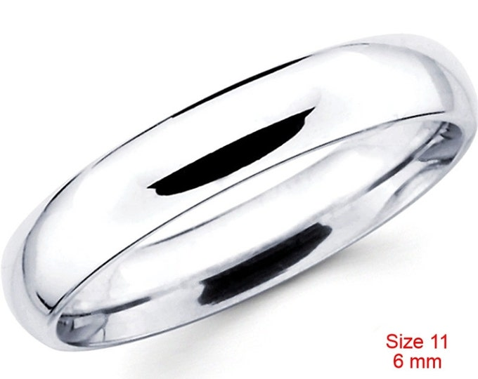 Italy Anti tarnish 925 silver high polished glossy plain wedding band ring 6mm Size 11