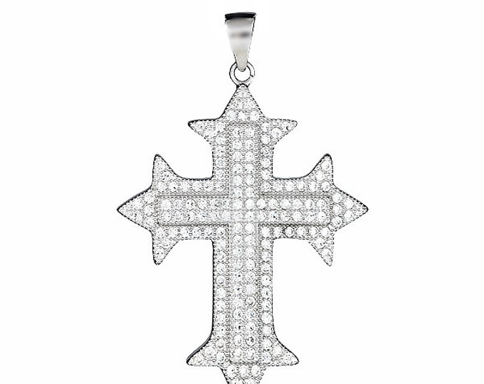 18k layered over Sterling Silver gothic cross pendent heavy with Micro Pave CZ setting
