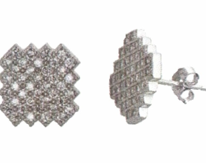 18k w gold layer Beautiful shinny Artistic design on 925 Silver CZ Micro Pave Earrings