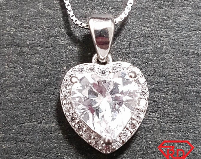 New 14k White Gold On 925 Double layer Heart Charm Pendant