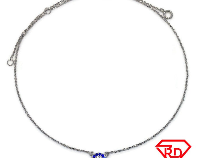 Tiny evileye blue CZ Necklace 16 inch chain white gold on silver