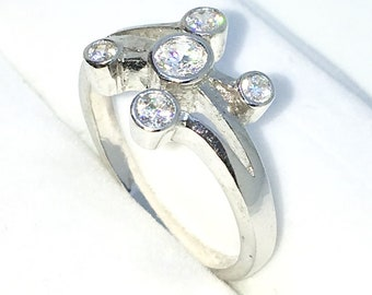 New Handcraft White Gold Plated on Sterling Silver ring band with five cross shape round white CZ