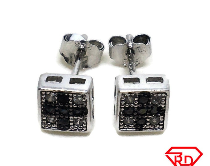 Square cross black & White CZ stud Earrings white gold layer