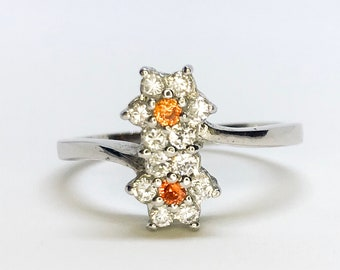 NEW 14K White Gold Layered on Sterling Silver Double Flowers with Orange Stones Ring