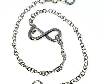 New White Gold Layered 925 Solid Sterling Silver 7 inch infinity round rolo chain baby Bracelet with Lobsterclaw clasp