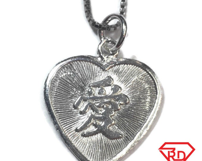 "New 925 Silver Chinese Character Writing ""Love"" and  Happy Heart Charm Pendant Reversible Design"