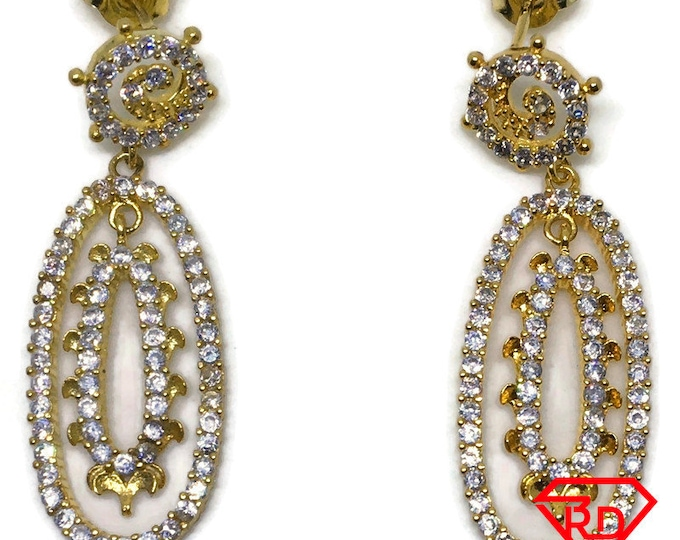 Oval Cubic Zirconia dangle earrings yellow gold on silver