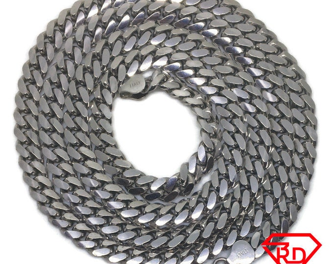 Heavy Curb chain Necklace 14k white gold on silver