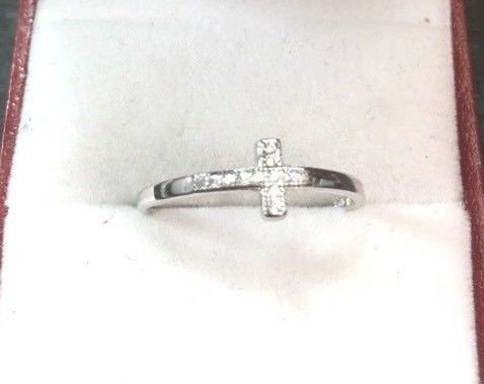 New 0.15 ct cubic zirconia 14k layer on silver side cross blessing ring size8.25