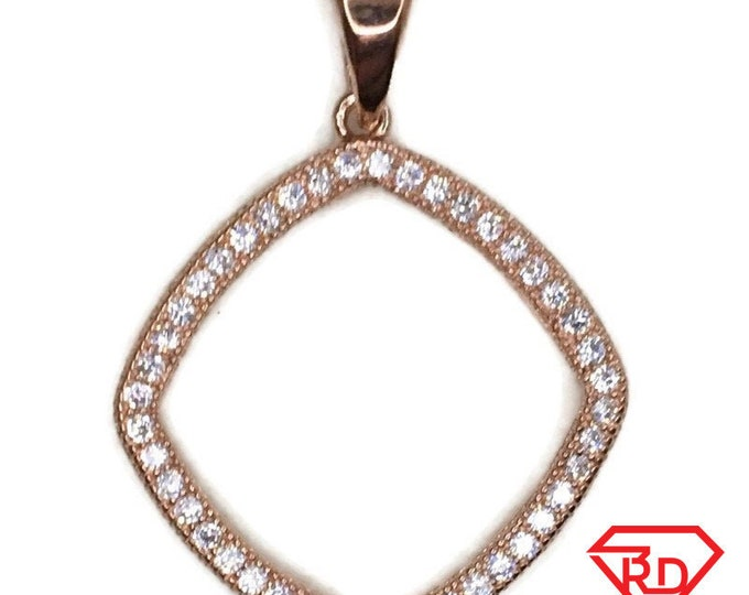 Rose Gold on Silver Pendant Bulgy Square with round white CZ