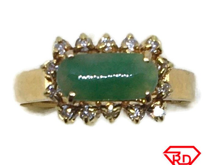 Handcraft 14k diamond and light green jade ring S5 . 25
