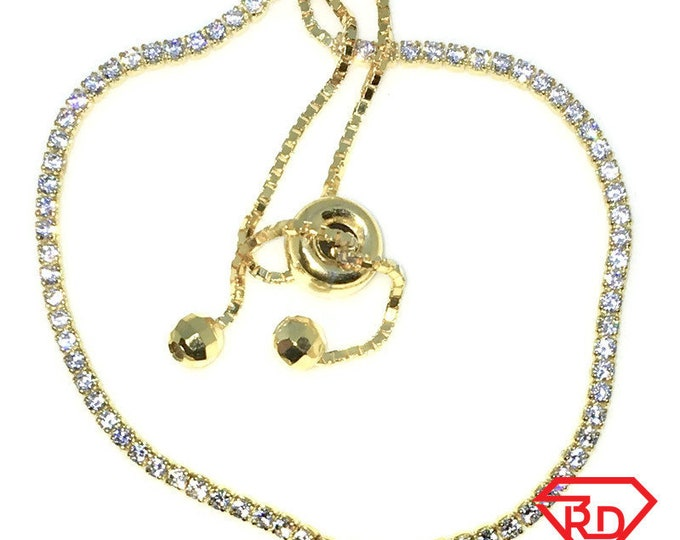 New Gold Layered 925 Solid Sterling Silver 9 inch single row of white round CZ Adjustable pulley bracelet