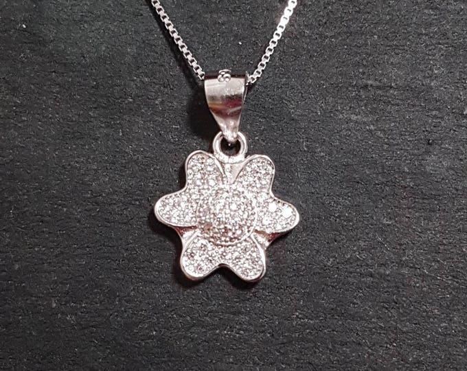 New 14k White Gold On 925 Child Flower Pendant Charm