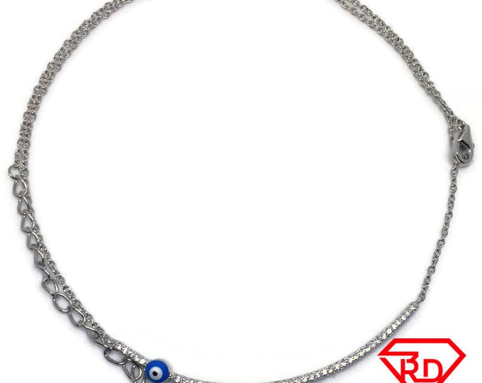 Evil Eye CZ Necklace 16 inch chain white gold on silver
