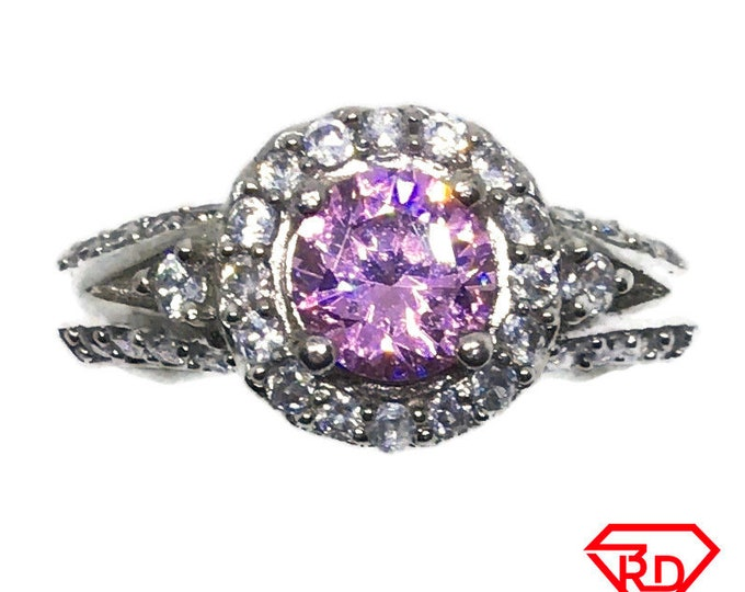 Pink Round CZ 4 prong White gold on silver Ring S8