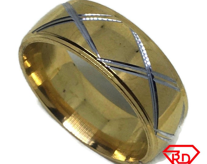 X diamond cut ring band Gold plated Titanium Steel S11 . 5